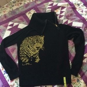 Lauren Active 1/2 Zip Cheetah Sweater Sz Medium